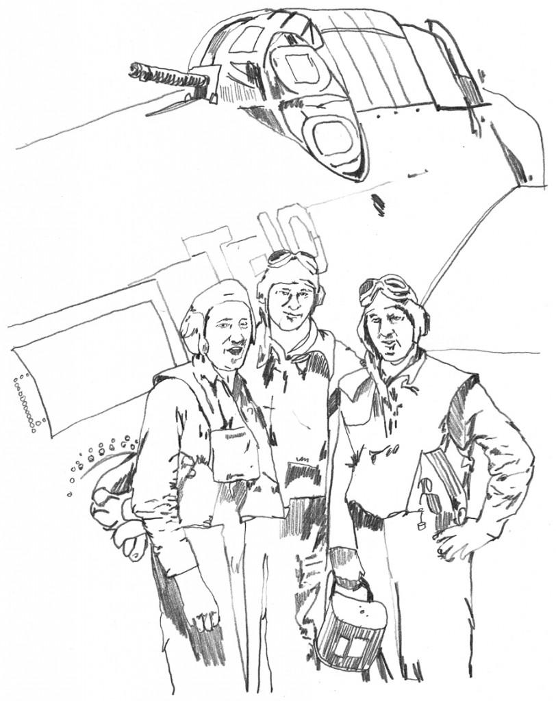Norbert Scharenbroich and his WWII plane crew, illustrated by Matt Scharenbroich